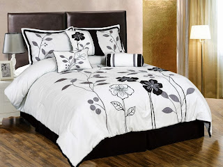 Black and white bedding ease bedding with style chezmoi collection 7 piece white grey and black lily with leaf applique comforter mightylinksfo