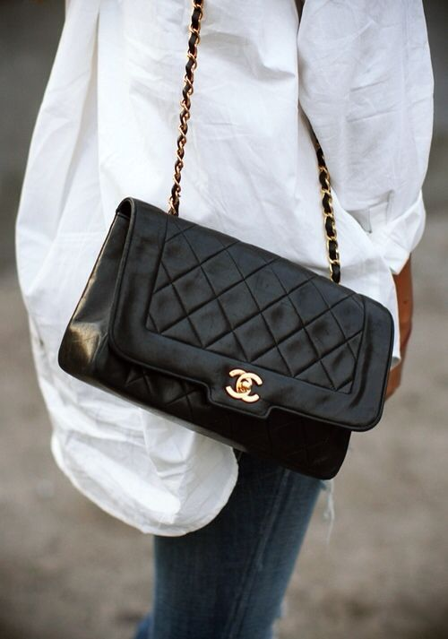 Sincerely Jules - White Button Down + Vintage Chanel Bag