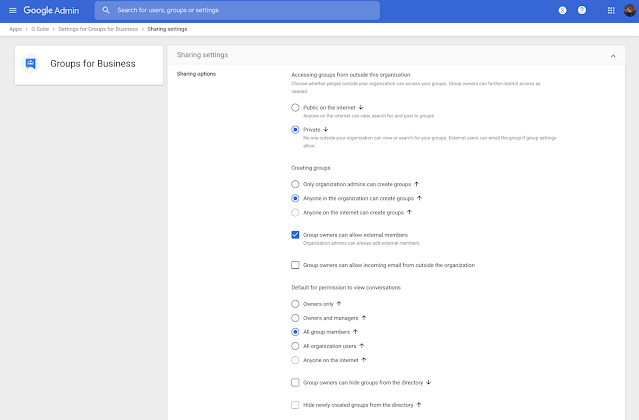 Updated interface for managing Google Groups in the Admin console 1