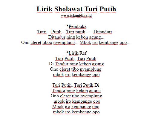 Lirik-sholawat-turi-putih-latin