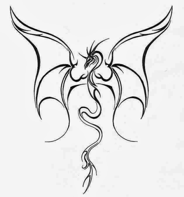 Dragon flying tattoo stencil