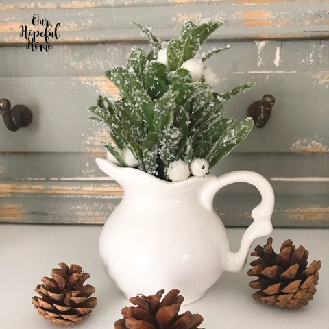 mini creamer winter greens scrolly handle pine cones