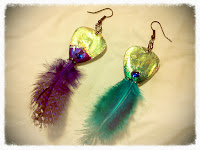Back of Feathered Guitar Pick Earrings