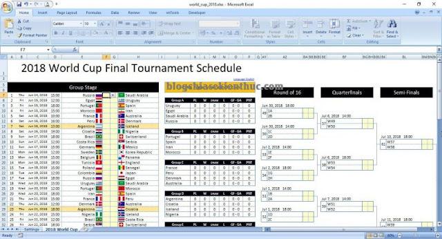 [Excel] Lịch thi đấu Word Cup 2018, nhập tỷ số và xem kết quả