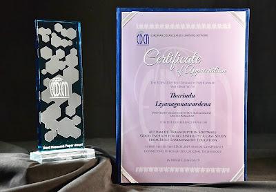 EDEN19 Best Research Paper Award