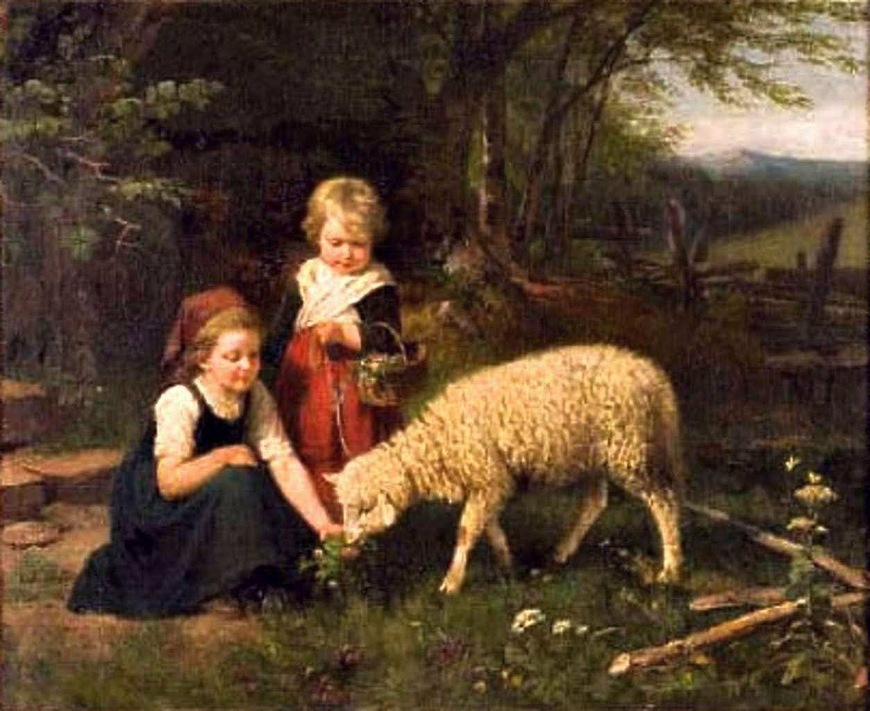Children feeding lamb