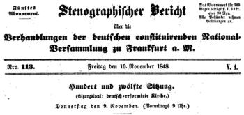 Bericht vom 10. November 1848
