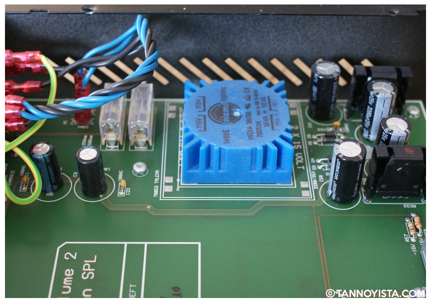Inside the SPL Volume 2 showing the circuit board - Power supply