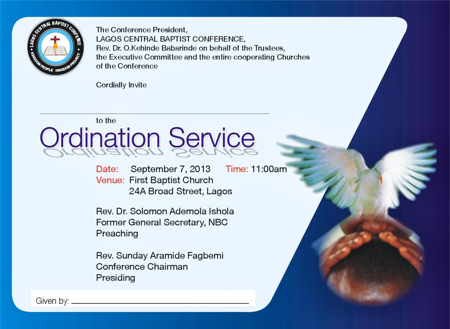 Minister Ordination Invitations