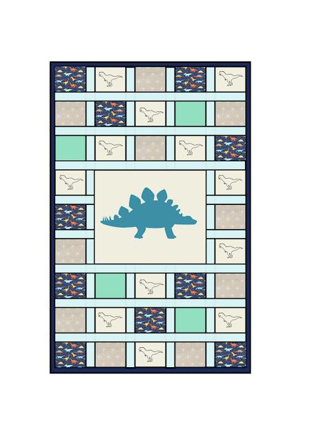 esquema colcha patchwork dinosaurios