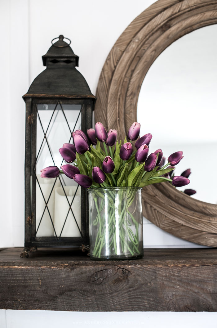 Purple tulips and black lantern