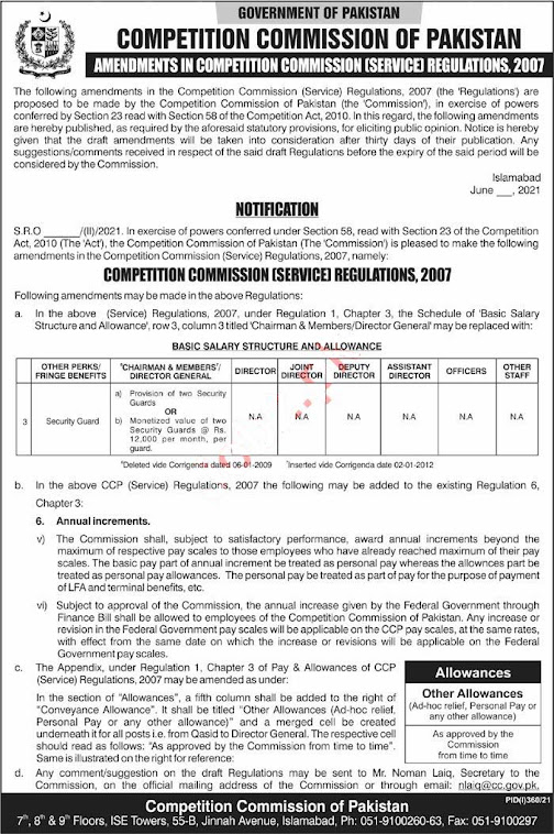 Latest Jobs in Competition Commission of Pakistan 2021