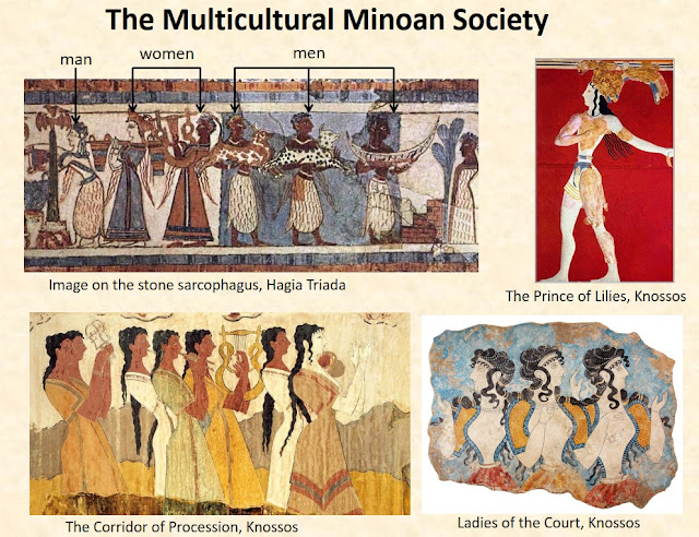 The Minoan society was multicultural. The frescoes depict an admixture of men and women with white and brown complexion, participating in cultural and religious activities.