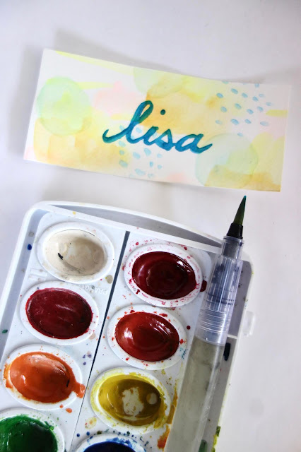 watercolor painting, Prang watercolor, water brush, hand lettering, brush lettering, calligraphy, watercolors, thank you cards, names, friends, handmade gifts, blah to TADA