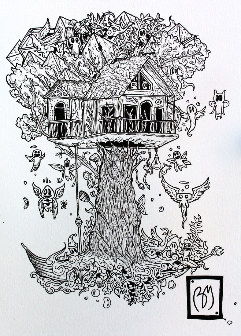 05-Tree-House-Braulio-Monteiro-Black-and-White-Drawings-and-Watercolor-Paintings-that-tell-a-Story-www-designstack-co