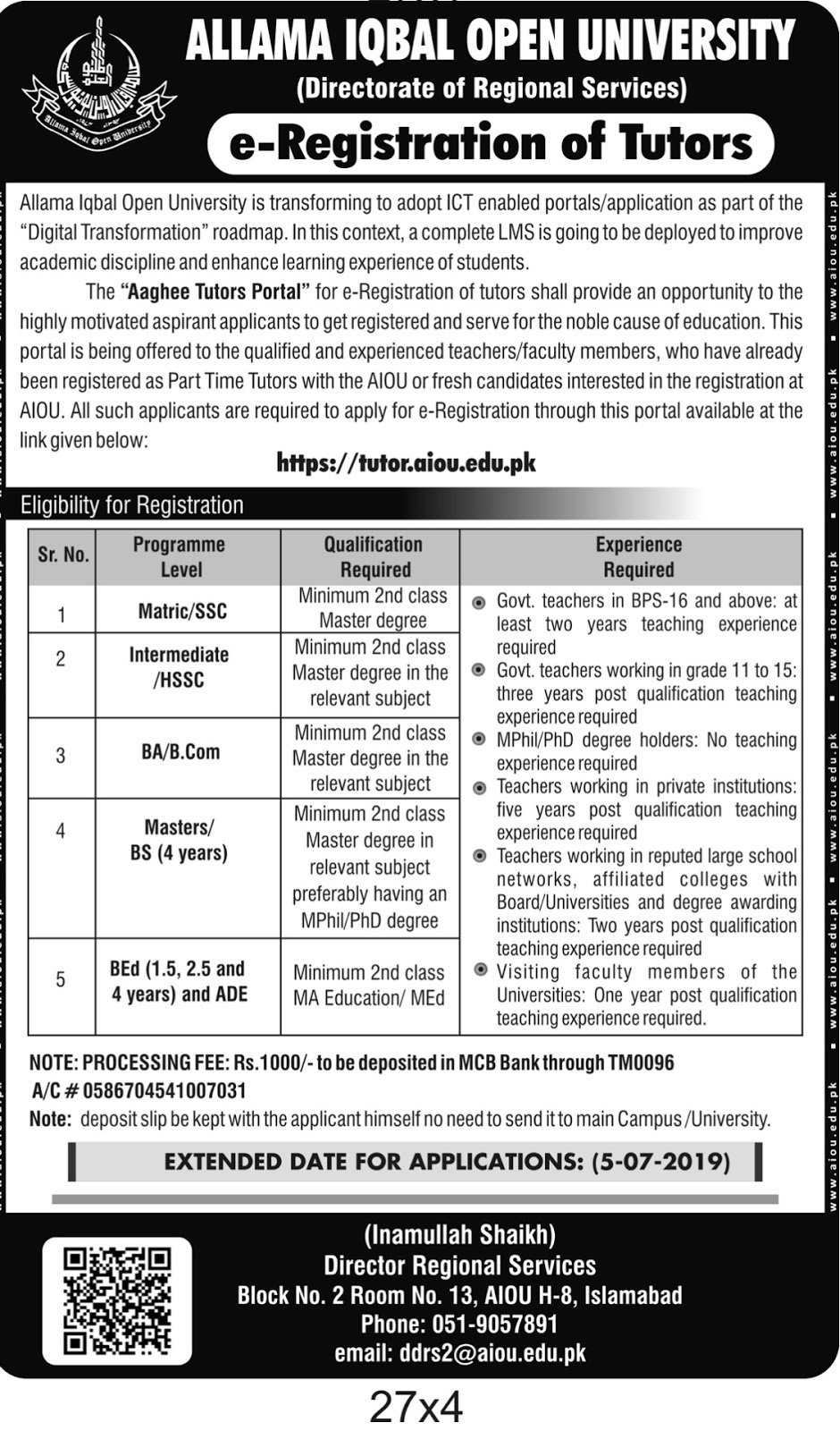 Advertisement for AIOU Jobs June 2019