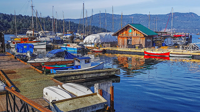 Brentwood Bay's colourful docks and jetties...