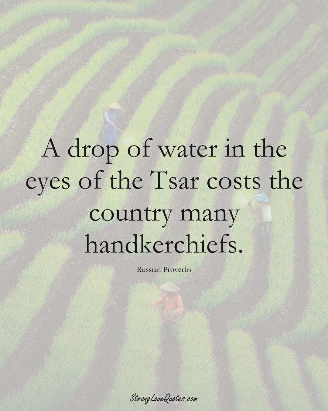 A drop of water in the eyes of the Tsar costs the country many handkerchiefs. (Russian Sayings);  #AsianSayings