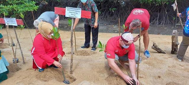 Wagub Kepri bersama Ekspatriat Menanam Pohon Magrove  di kampung Tua Bakau Serip Nongsa