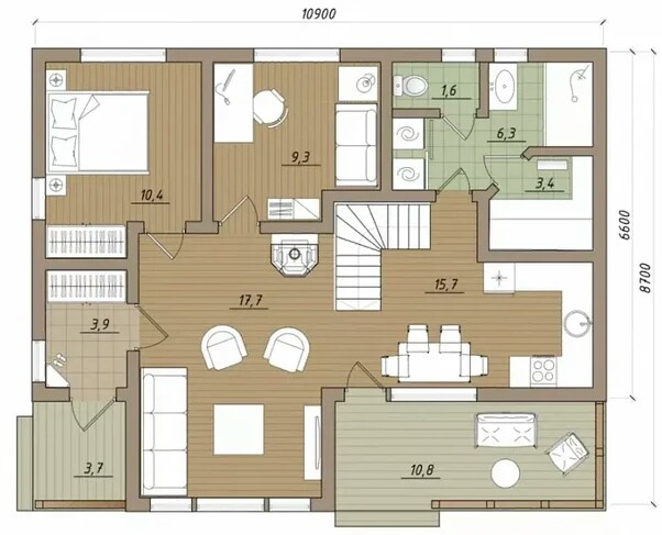 House plan with a large hall, living room and kitchen