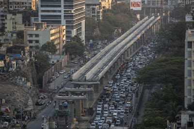 Mumbai metro elevated track construction