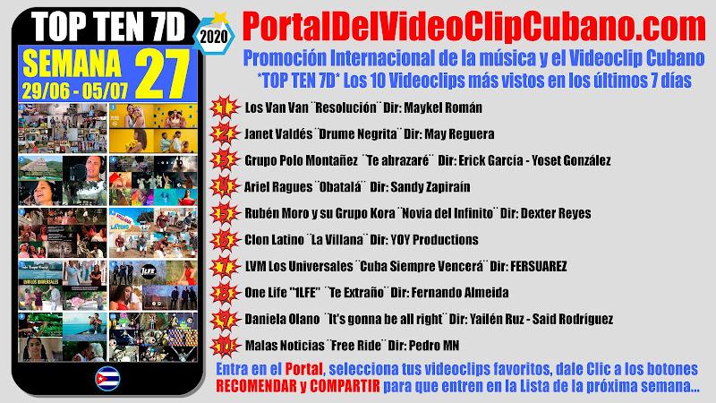 Artistas ganadores del * TOP TEN 7D * con los 10 Videoclips más vistos en la semana 27 (29/06 a 05/07 de 2020) en el Portal Del Vídeo Clip Cubano