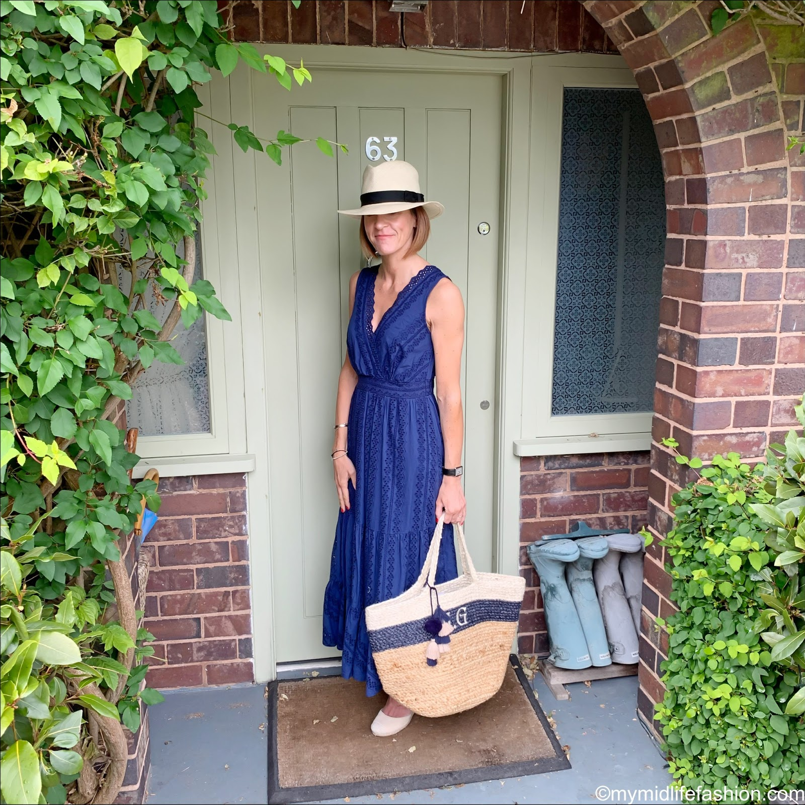 my midlife fashion, marks and Spencer luxury Panama hat, marks and Spencer pure cotton embroidered maxi dress, initially London Canonbury bag, vionic espadrille wedges