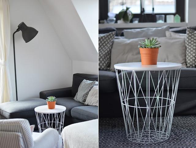 Kivik IKEA grau mit weißem Korb im Scandi-Style