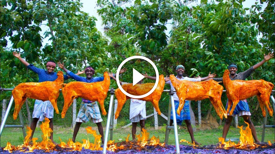 5 FULL GOAT GRILL | Grilled Mutton Recipe Cooking in Village | Whole Lamb Roast with Mutton Meat