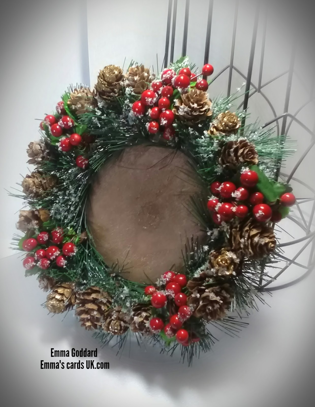 Emmas cards uk projectstechniques a wooden disc baker ross and hobbycraft sell them faux berries larch cones and artificial pine branches polar white flower soft pva glue and glitter mightylinksfo