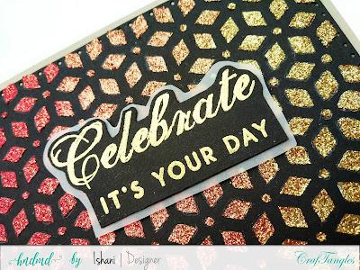 Craftangles geometric flower stencil, Craftangles glimmer paste, Craftangles stencils cards, cards with stencil, cards with shimmer paste, stenciled card, birthday card with stencil, quillish