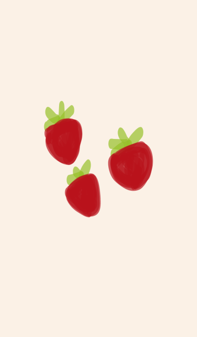 Lovely Strawberry Red & Green Fruit Cute