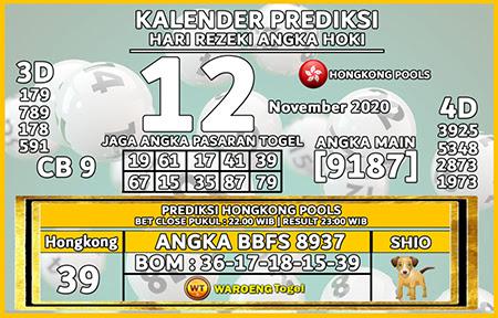 Kalender Prediksi HK Kamis 12 November 2020