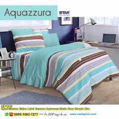 Sprei Custom Katun Lokal Dewasa Aquazzura Garis Linen Simple Biru