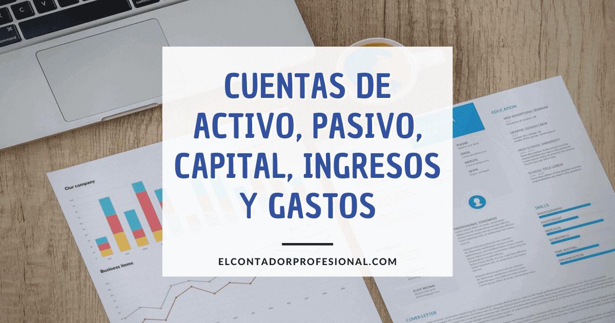 cuentas de activo pasivo capital ingresos y gastos