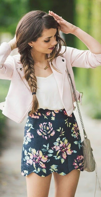 Spring outfits Floral skirt  fishtail hairstyle