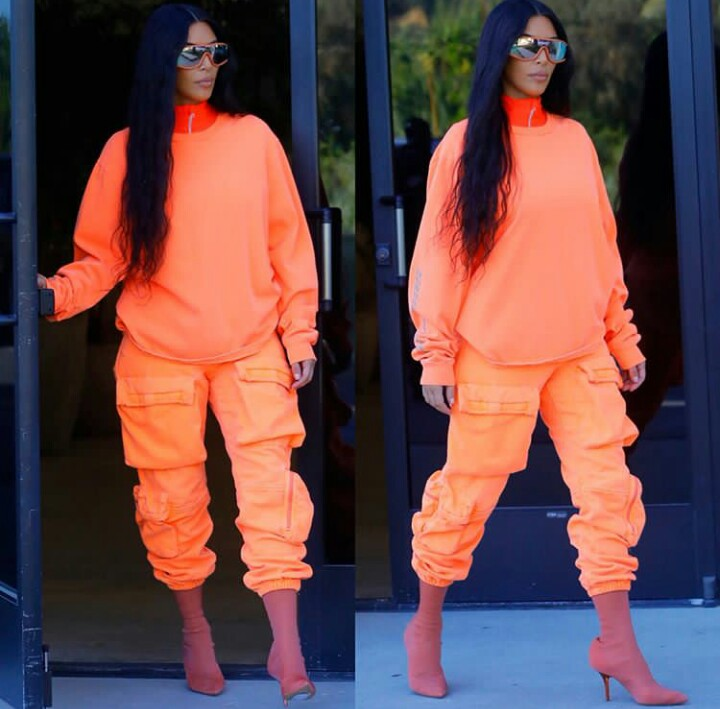 a18ea0073 ... season 8 collection in the streets of Los Angeles while running errands  and oh it s breathtaking . The collection includes an orange tracksuit and  ...