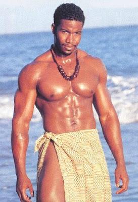 Allen Payne's muscular body