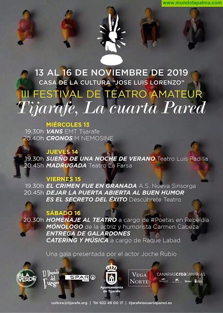 """El festival de teatro amateur """"Tijarafe, la cuarta pared"""" presenta su programación"""