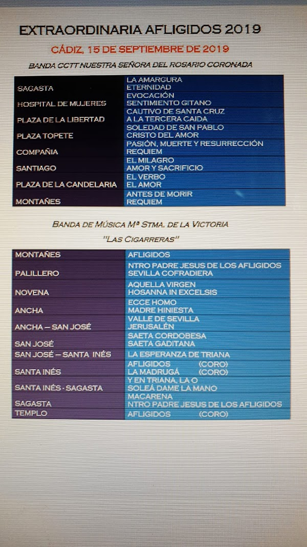Repertorio Musical Salida Extraordinaria de Afligidos. Cádiz 15 de Septiembre del 2019