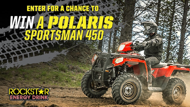 Rockstar Energy Drink will award one lucky winner with a brand new Polaris Sportsman 450 worth almost $6000!