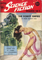 Cover of the fantasy fiction magazine Avon Science Fiction Reader no. 3 (1952) featuring 'The Robot Empire' by Frank Belknap Long