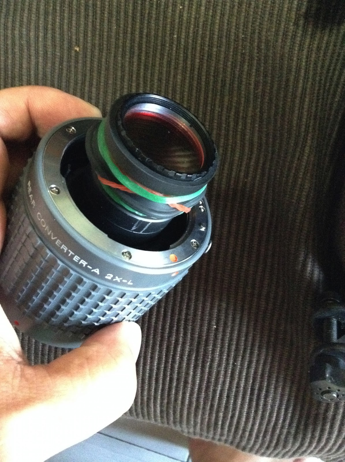 將31.7mm目鏡規格的continuum濾鏡接上Pentax 2x-L兩倍鏡的方法