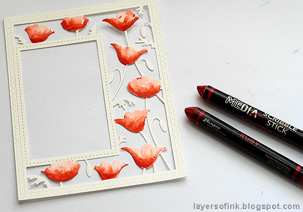 Layers of ink - Poppy Frame Art Journal Page by Anna-Karin Evaldsson. Color the poppies.