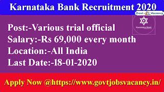 Karnataka Bank Recruitment 2020  Apply Online
