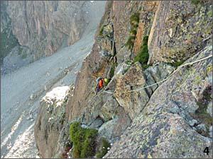Descendiendo de la aiguillete Joly, en la muralla de pombie por las viras superiores.