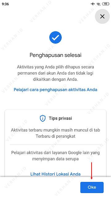 histori pencarian google berhasil dihapus