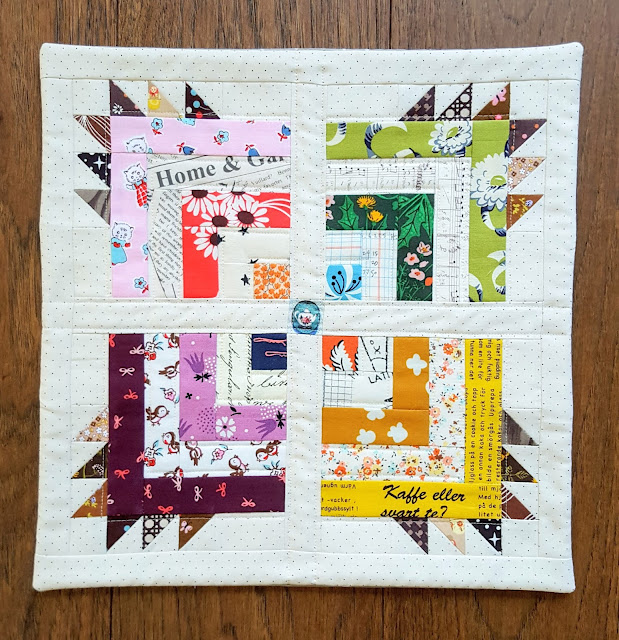 Scrappy Version of Big Bear Cabin Mini Quilt from Patchwork USA by Heidi Staples of Fabric Mutt for Lucky Spool Media