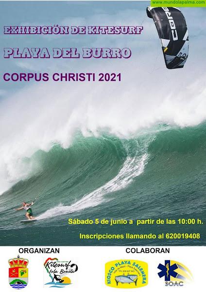 Villa de Mazo organiza una exhibición de kitesurf en la playa de El Burro con 25 deportistas
