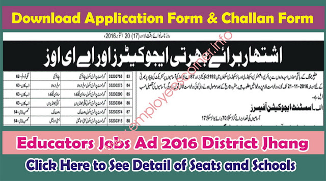 AEO and Educators Jobs in District Jhang 2016